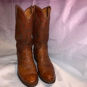Vntge Lucchese 1883 Full Quill Ostrich Boots Sz9